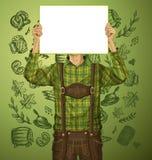 Mann mit schreiben Brett auf Oktoberfest Lizenzfreie Stockbilder