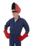 Mann mit Schweißensmaske Stockbild