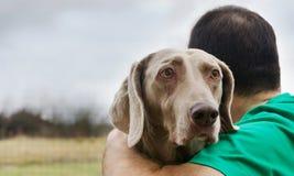Mann mit seinem Hund draußen Lizenzfreie Stockfotos