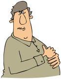 Mann mit Sodbrennen stock abbildung