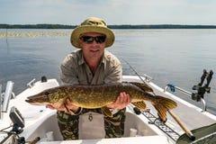 Mann mit Sommerspiessfischen Stockfotografie