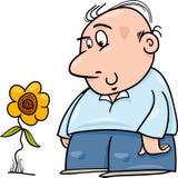 Mann mit Sonnenblumenkarikaturillustration Lizenzfreie Stockfotos