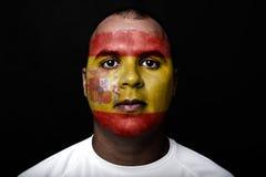 Mann mit Spanien-Flagge Stockfotos