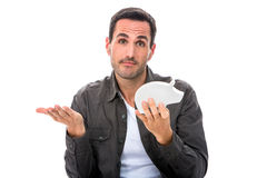 Mann mit Sparschwein ohne Geld Lizenzfreie Stockbilder