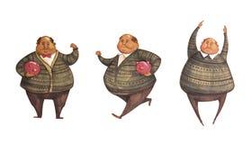 Mann mit Sparschwein - Satz Illustrationen Stockfotos