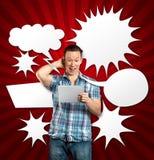 Mann mit Sprache-Luftblase Stockbild