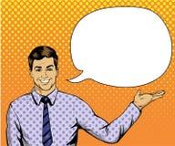 Mann mit Spracheblase in der Retro- Pop-Arten-Art Komische vektorabbildung Lizenzfreie Stockfotos