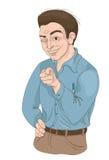Mann mit squinty Auge Finger und das Lächeln zeigend Lizenzfreies Stockfoto
