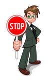Mann mit Stoppschild Stockfotografie