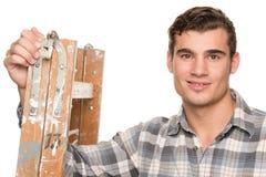 Mann mit Strichleiter stockfotos