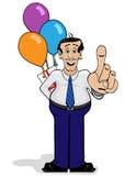 Mann mit surpise Geschenk und Ballonen Lizenzfreie Stockbilder