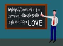 Mann mit Tafel und Liebesformel Lizenzfreie Stockfotografie