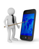 Mann mit Telefon auf weißem Hintergrund Stockbild