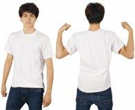 Mann mit unbelegtem weißem Hemd Stockfotografie