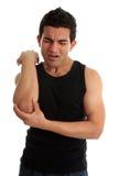 Mann mit unerträglichen Verletzung oder den Schmerz stockbild