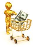 Mann mit Verbraucherkorb und -dollar Lizenzfreie Stockbilder