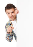 Mann mit weißem leerem Brett Stockfoto