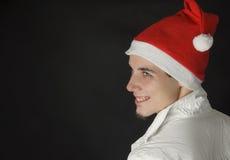 Mann mit Weihnachtshut Lizenzfreie Stockfotos