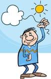 Mann mit Wolke auf Schnurkarikatur Stockfotos