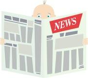 Mann mit Zeitung lizenzfreie abbildung