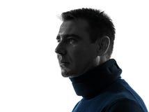 Mann mit zervikalem Kragen neckache Schattenbildporträt Lizenzfreie Stockbilder