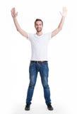 Mann mit in zufälligem mit den angehobenen Händen oben lokalisiert Stockfotos