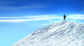 Mann oben auf den Berg stockbild