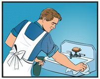 Mann räumen Wannenpop-arten-Comics auf stock abbildung