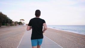 Mann rüttelt im Parkbereich nahe malerischem Seeufer in der Urlaubsstadt, hintere Ansicht stock footage