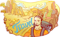 Mann - Reisender in der Steinwüste Stockbild