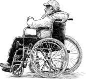 mann rullstol Fotografering för Bildbyråer