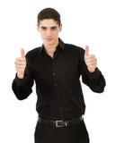 Mann sagen o.k. mit Fingerzeichen stockbilder
