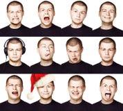 Mann Satz verschiedene Gesichtsausdrücke oder Gefühle Stockbild