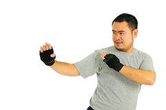 Mann schützen sich im Karosserienkampf Lizenzfreies Stockbild