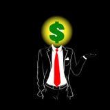 Mann-Schattenbild-Anzugs-roter Bindungs-Dollar-Zeichen-Kopf-Schwarz-Hintergrund Stockbilder