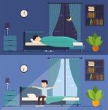 Mann schläft im Bett nachts und wacht morgens auf Stockbild