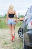 Mann schlägt den Esel des Mädchens Lizenzfreies Stockbild