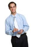 Mann-Schreibens-Check Stockfotos