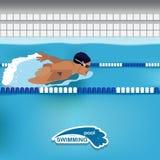 Mann schwimmt im Pool Stockfoto