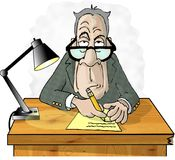 Mann an seinem Schreibtisch vektor abbildung