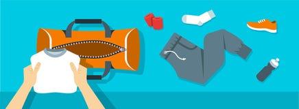 Mann setzt Eignungsmaterial in Sporttaschen-Vektorfahne Stockbild