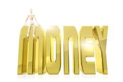 Mann sitzt auf einem enormen goldenen Wort GELD Lizenzfreies Stockfoto