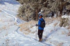 Mann snowshoer steigender Hügel Stockbild