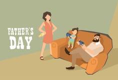 Mann-Sohn-Sit On Sofa Play Video-Spiel-Vater Day vektor abbildung