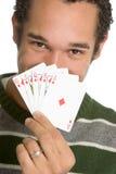 Mann-Spielkarten stockbild