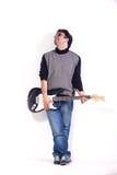 Mann spielt E-Gitarre auf weißem Hintergrund stockbilder