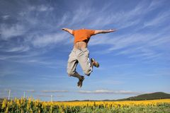 Mann springen über ein flowerry Feld Lizenzfreie Stockfotografie