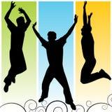 Mann-springendes Schattenbild Lizenzfreie Stockfotografie