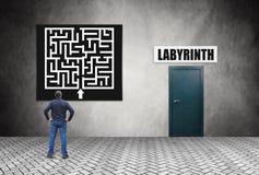 Mann studiert sorgfältig den Plan, bevor er das Labyrinth betritt Lizenzfreies Stockfoto