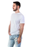 Mann in T-Shirt Modell Stockbild